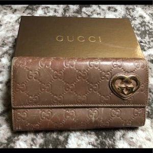 Gucci pearl pink brown Guccissima leather wallet